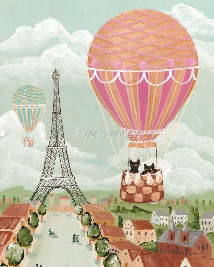 Balloon Ride Over Paris Whimsical Cat Folk Art Giclee Print 8x10, 11x14
