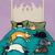 Bed Time With Cats Whimsical Cat Folk Art Giclee Print 8x10, 11x14