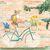 Calico Cat on Bicycle Whimsical Cat Folk Art Giclee Print 8x10, 11x14
