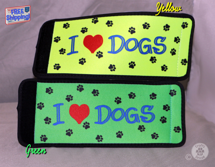 "Dog Lover Can/Bottle Wraps (""I [heart] DOGS"" design with yellow or green"