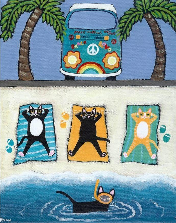 Cats on Summer Holiday Whimsical Cat Folk Art Giclee Print 8x10, 11x14