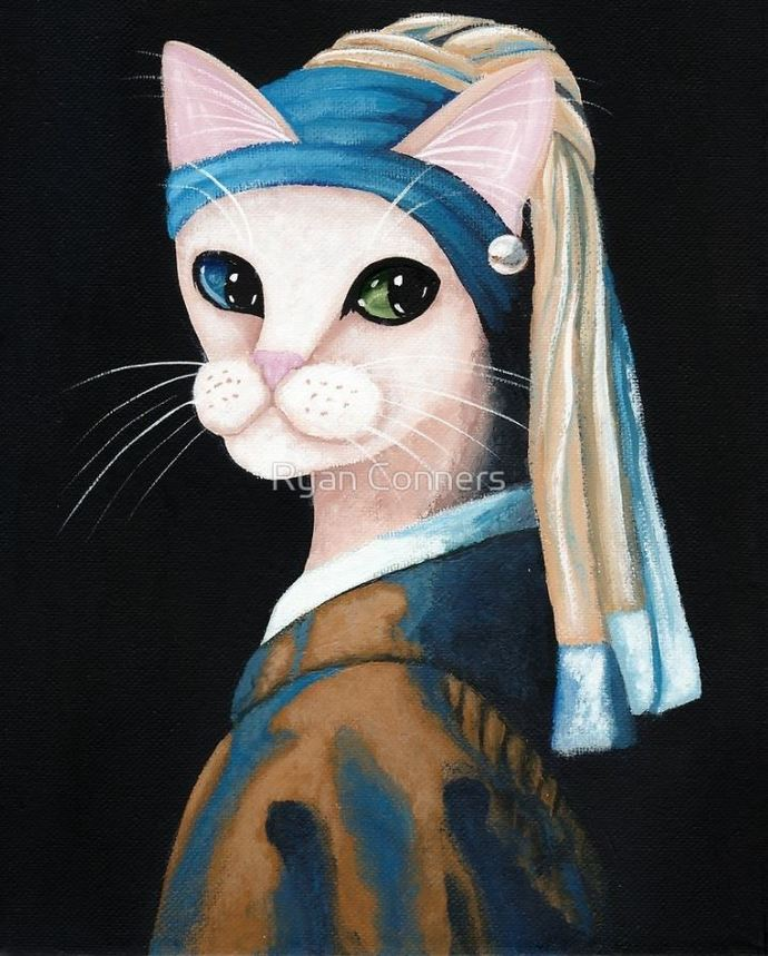 Cat With The Pearl Earring Whimsical Cat Folk Art Giclee Print 8x10, 11x14
