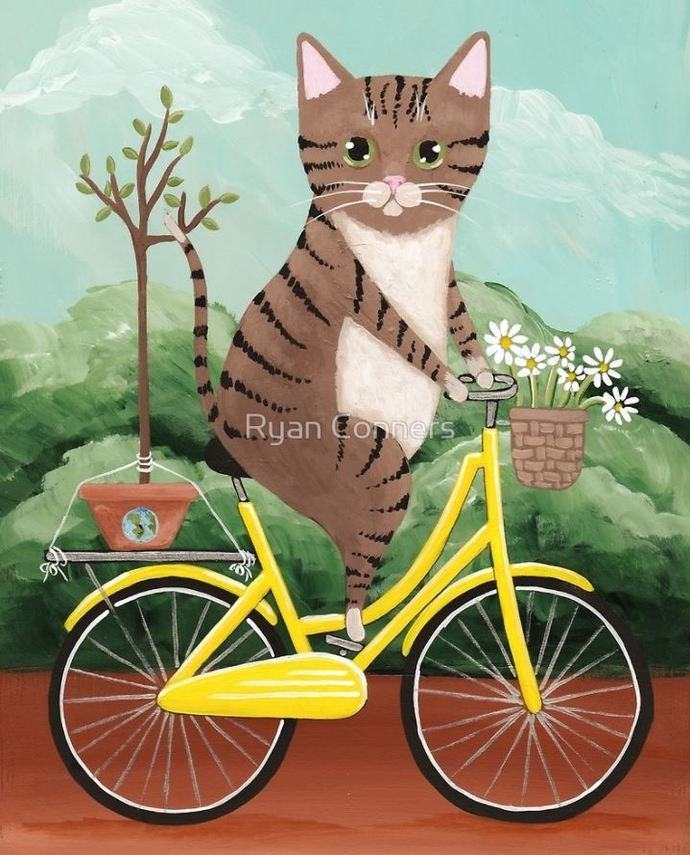 Brown Tabby Earth Day Bicycle Ride Whimsical Cat Folk Art Giclee Print 8x10,