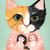 Calico Cat and Her Dolls Portrait Whimsical Cat Folk Art Giclee Print 8x10,