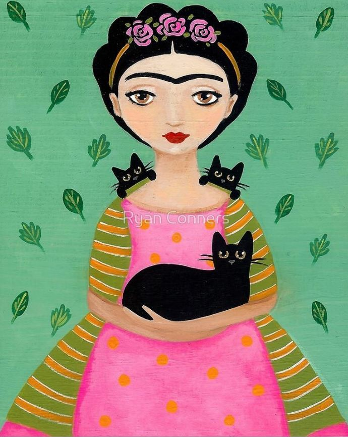 Frida and Her Black Cats Whimsical Cat Folk Art Giclee Print 8x10, 11x14