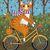Ginger Cat Pumpkin Bicycle Ride Whimsical Cat Folk Art Giclee Print 8x10, 11x14