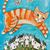 Ginger Cat Paper Cranes Whimsical Cat Folk Art Giclee Print 8x10, 11x14