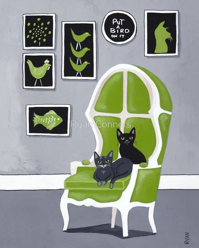 The Grey Room Whimsical Cat Folk Art Giclee Print 8x10, 11x14