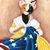 Kitty Ross Sewing American Flag Whimsical Cat Folk Art Giclee Print 8x10, 11x14