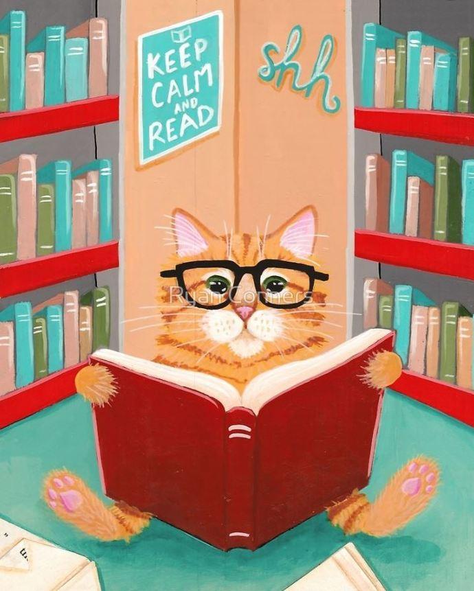Library Reading Ginger Cat Whimsical Cat Folk Art Giclee Print 8x10, 11x14