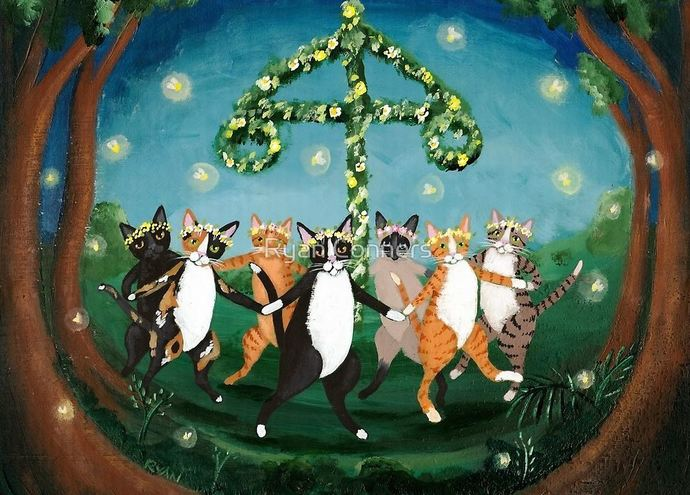 Midsummer Celebration Cats Whimsical Cat Folk Art Giclee Print 8x10, 11x14