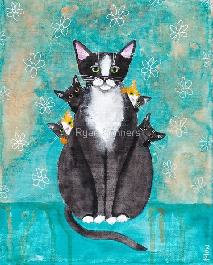 Mother's Day Portrait with Kittens Whimsical Cat Folk Art Giclee Print 8x10,