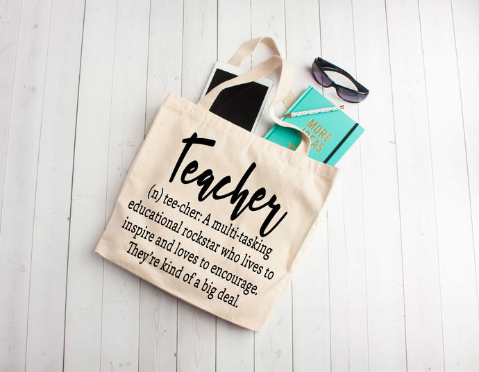 Teacher Definition, teacher life, teacher appreciation gifts, Custom tote bags,
