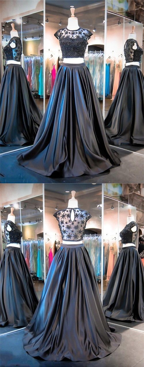 2 Piece Prom Gown,Two Piece Prom Dresses,Black Evening Gowns,2 Pieces Party