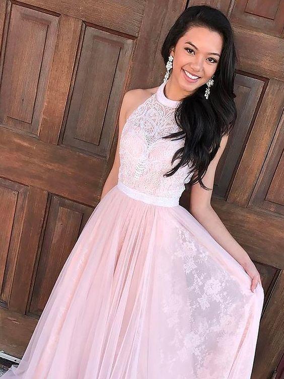 A-Line Princess Sleeveless Halter Tulle Lace Sweep Brush Train Dresses