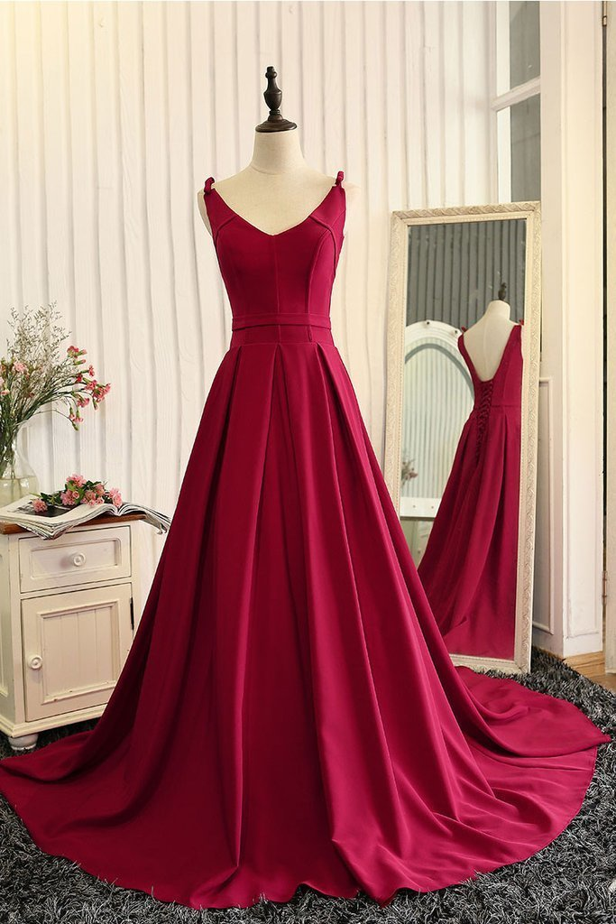 formal simple satin burgundy long prom dress