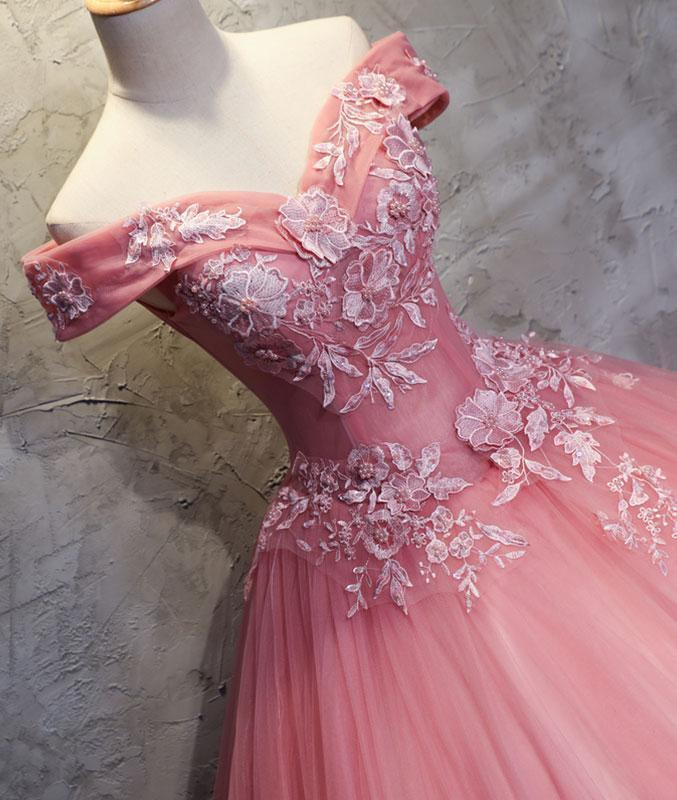 Off Shoulder Pink A-line Lace Appliques Long Prom Dress