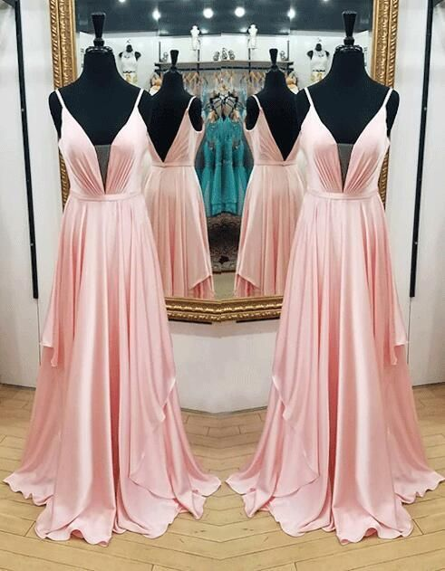 Plunging V Neck Prom Dress,Simple Prom Dress,A by dresses on Zibbet