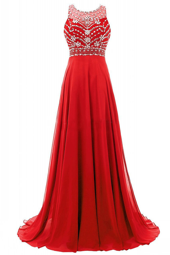 Red Embellished Sweetheart Prom Dresses