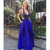 New Arrive Sexy Open Back Royal Blue Long Prom Dress
