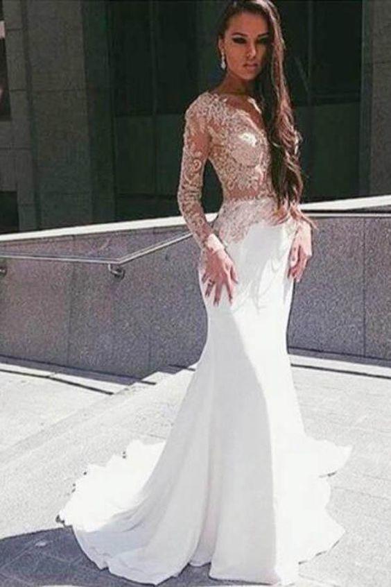White Long Sleeve Illusion Mermaid Floor Length Appliqued Prom Dress PL238