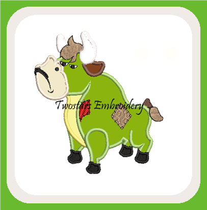 Patch bull digital embroidery file. In 4x4 fill and 5x7 6x10 applique design.