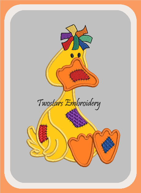 Patch duck digital embroidery file. In 4x4 fill and 5x7 6x10 applique design.
