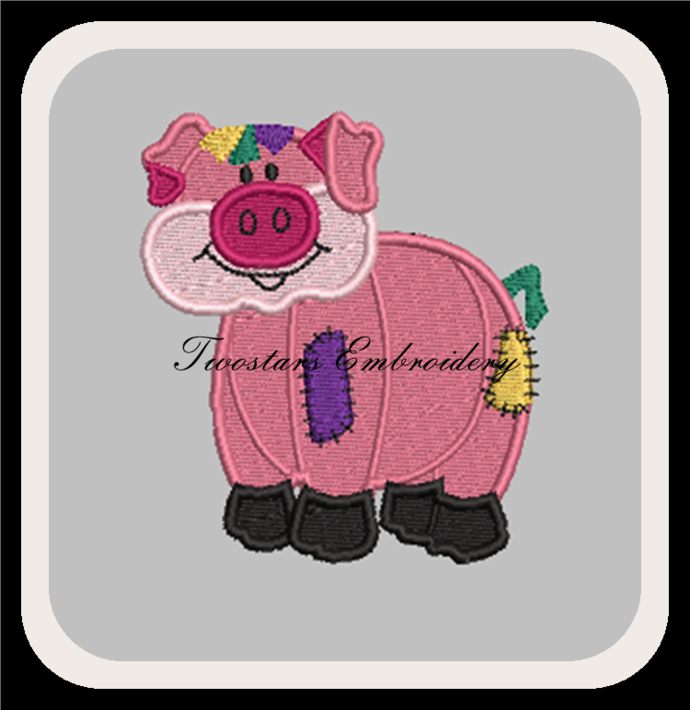 Patch Pig digital embroidery file. In 4x4 fill and 5x7 6x10 applique design.