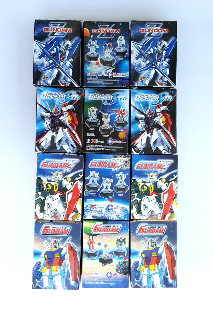 Coca Cola Japanese Anime Gundam 25th Anniversary Can Cap Figures - Complete Set