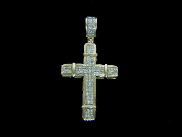 Vintage Estate 10k Yellow Gold & Diamonds Religious Crucifix Cross Pendant 3.0g