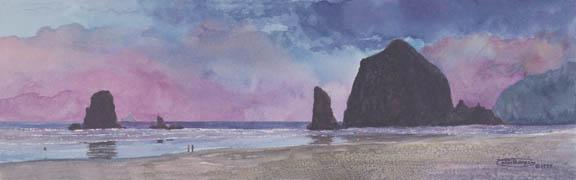 """Beach Walk At Sunset"" Giclee Paper Print by Carol Thompson"