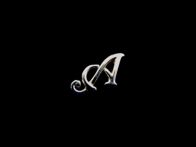 "Womens Vintage Estate .925 Sterling Silver ""A"" Monogram Pendant, 3.7g E1696"