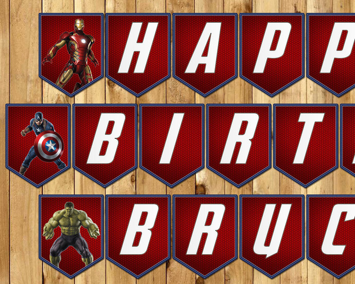Avengers Inspired Birthday Banner Avengers Banner - Download Print Customizable