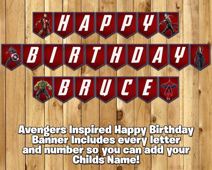 Avengers Inspired Birthday Banner Avengers Banner - Download Print Customizable