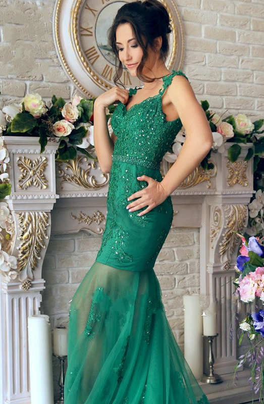 Mirusponsa Beautiful Emerald Green Lace Mermaid Evening Dresses Robe De Soiree
