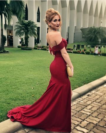 7572a263391 Burgundy Satin V-neck Off Shoulder Mermaid Prom Dresses Leg Split Evening  Gowns