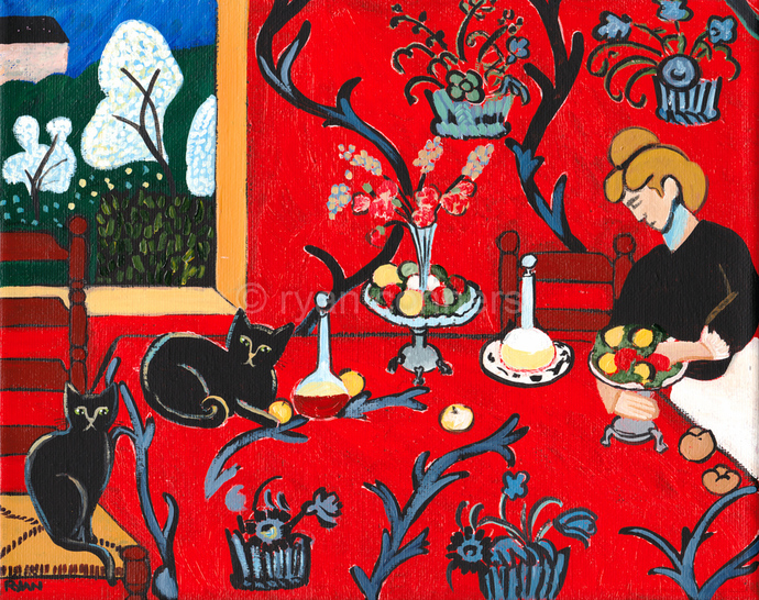 Harmony in Red With Cats Original Cat Folk Art Painting