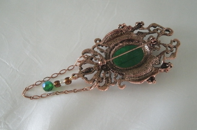 Copper Goddess Brooch, cloak pin