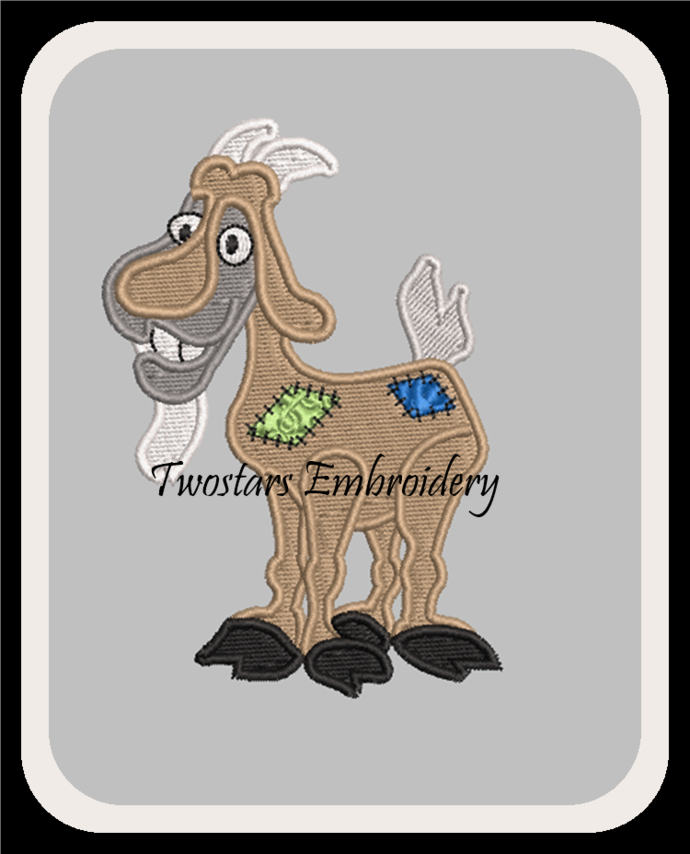 Patch Goat digital embroidery file. In 4x4 fill and 5x7 6x10 applique design.
