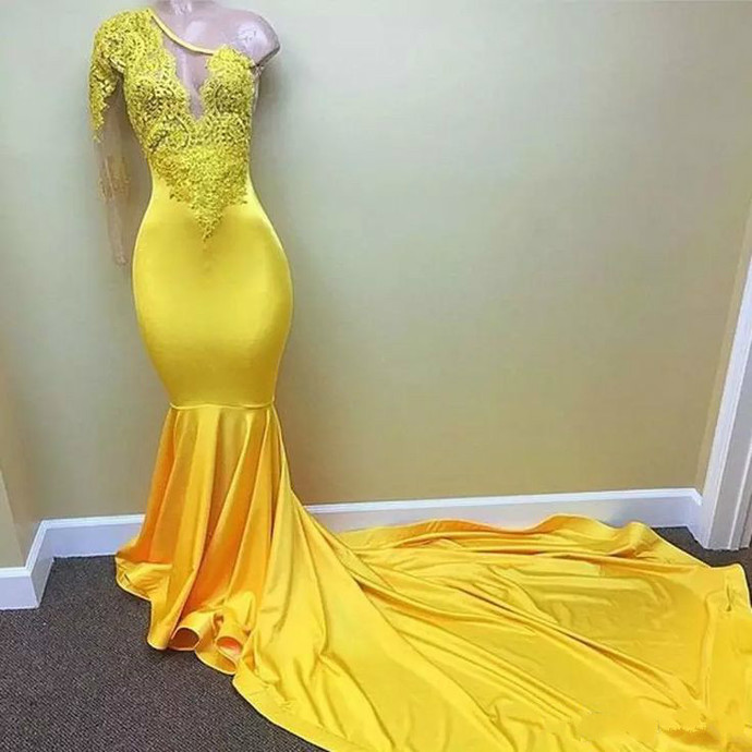 3967b56452d6 Yellow Prom Dress Mermaid Satin One Shoulder Lace Appliques Women Evening  Dress