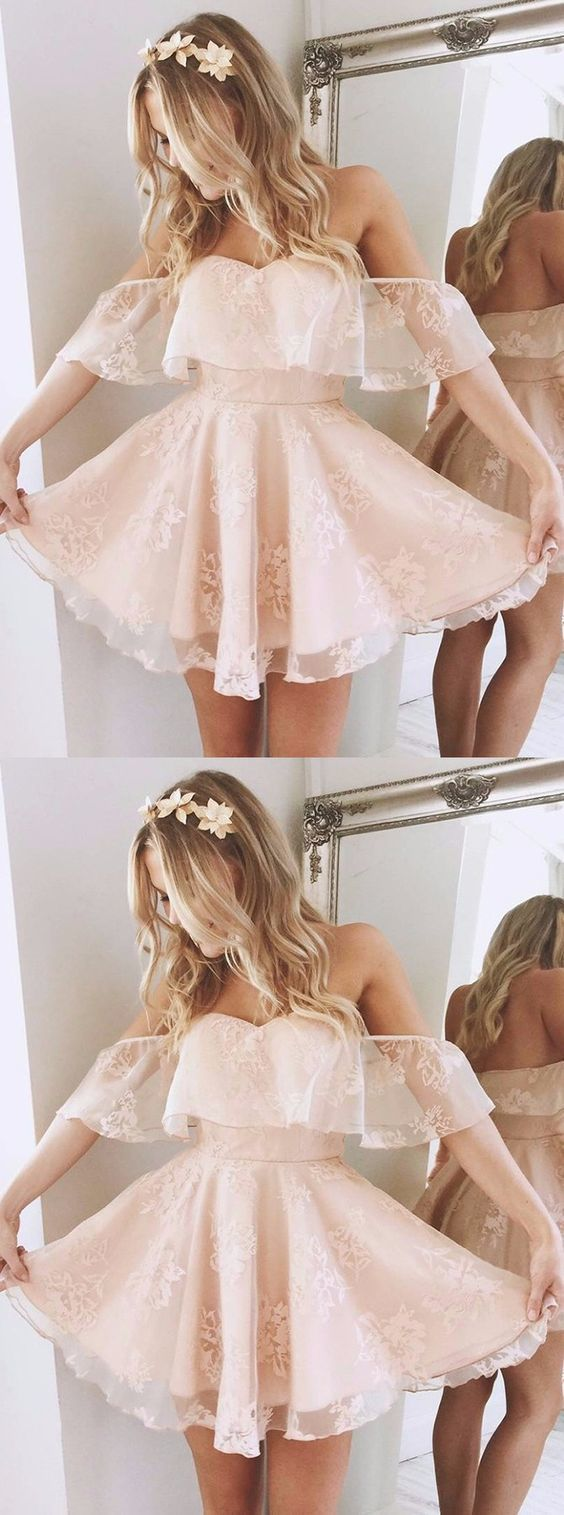 Lovely A-Line Off-the-Shoulder Short Pearl Pink Lace Homecoming Dress,Party