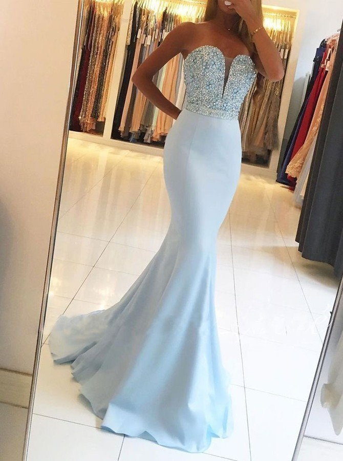 Unique Mermaid Sweetheart Long Evening Dress Elastic Woven Stain Sweep Train