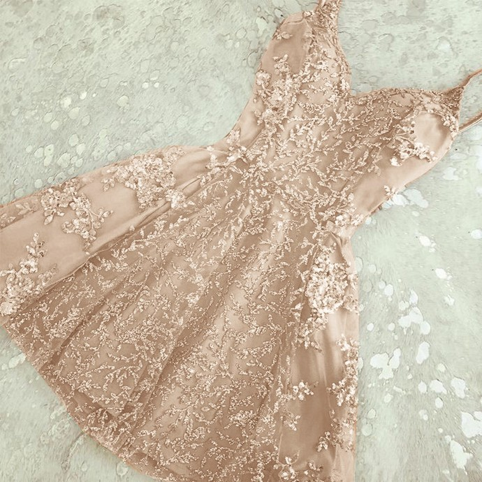 Glamorous A-Line Spaghetti Straps Champagne Short Homecoming Dress with Beading