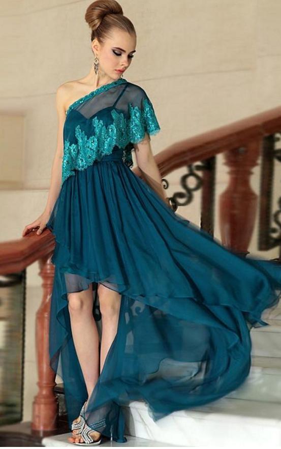 One Shoulder Evening Dresses, Green Evening by prom dresses on Zibbet
