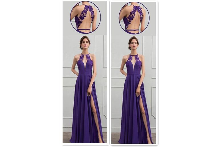 A-Line/Princess Scoop Neck Floor-Length Chiffon Evening Dress With Lace Split
