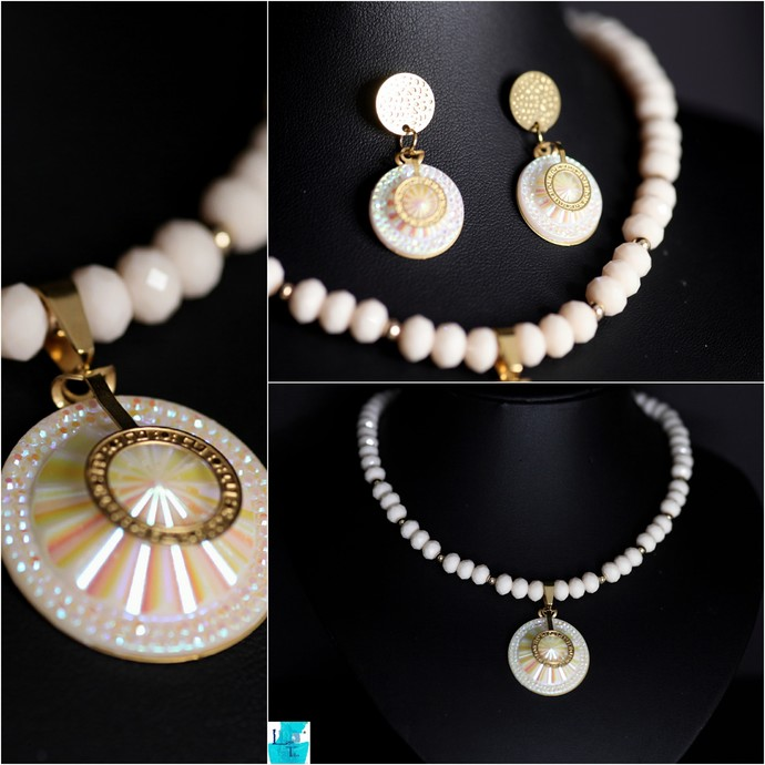 Cream and Gold Necklace and Earring Set