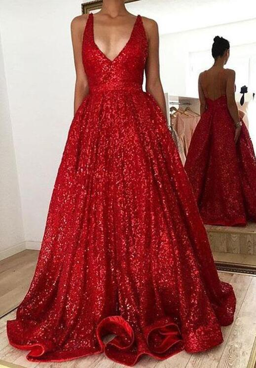 sequins v neck prom dress,sexy prom dress,Red prom dress,long prom dress, red