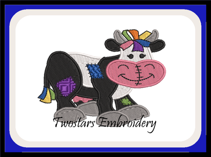 Patch Cow digital embroidery file. In 4x4 fill and 5x7 6x10 applique design.