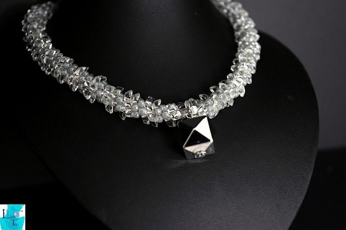 Silver and Grey Necklace and Earring set