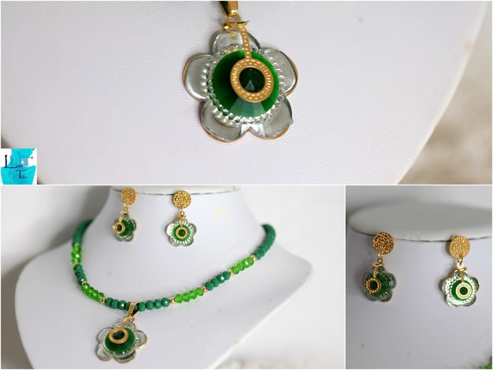 Green Flower Necklace and Earring Set